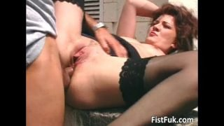 Brunette mature whore fucked on terrace