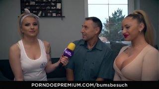 BUMS BESUCH – Busty German porn star Dana Jayn fucks mature amateur fanboy