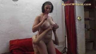 Busty mature with shy guy at their first casting