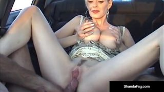 Canadian Cougar Mature babe Gets a Load On Her Ass In Car