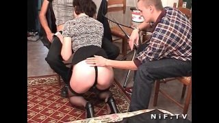 French mature anal fucked in threesome