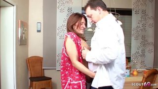 German Redhead Mature Maid seduce to Cheting Sex when Wife is on Work