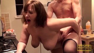 Hard fucked plumper fed with doms big cock and hot cum