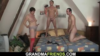 Two dudes film xxx movie with old hairy granny hot pussy drilling