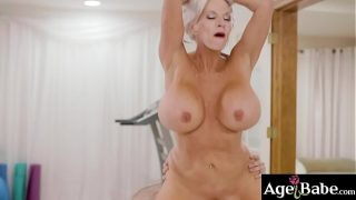 Watch an intense fuck massage with this hot mature masseuse Sally D Angelo and her handsome client Jake Adams