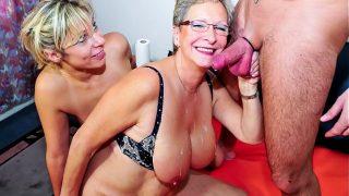 XXX OMAS – German mature blondes sharing stiff cock