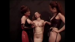 Young chick loves to be fondled by two mature whores in bdsm style